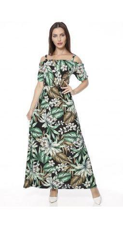 E-9024  Yeşil yapraklı elbise