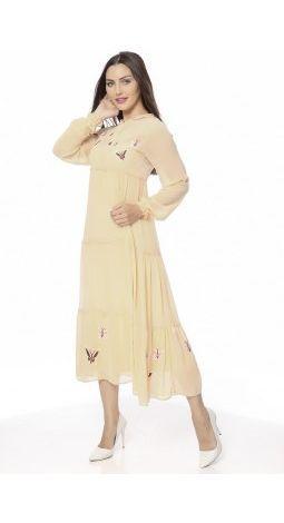 E-9035  yavruağzı şifon elbise (dar kalıp)