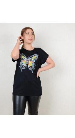 BTK-6001 büyük kelebek BASKILI VİSKON TİŞÖRT