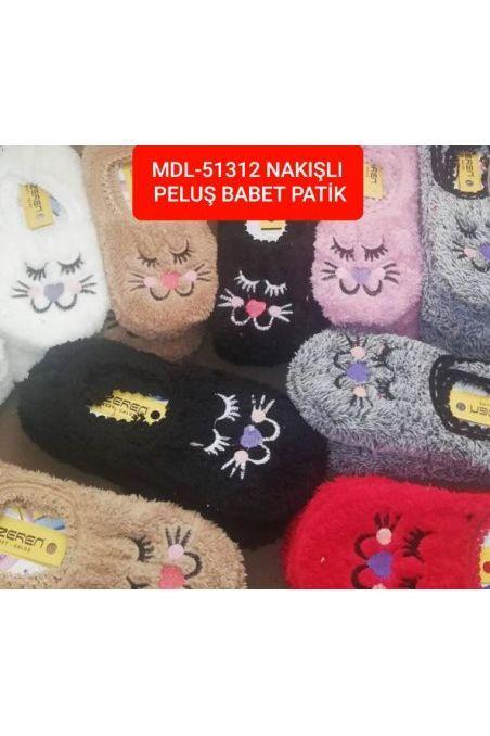 MDL-51312 NAKIŞLI PELUŞ PATİK 5143