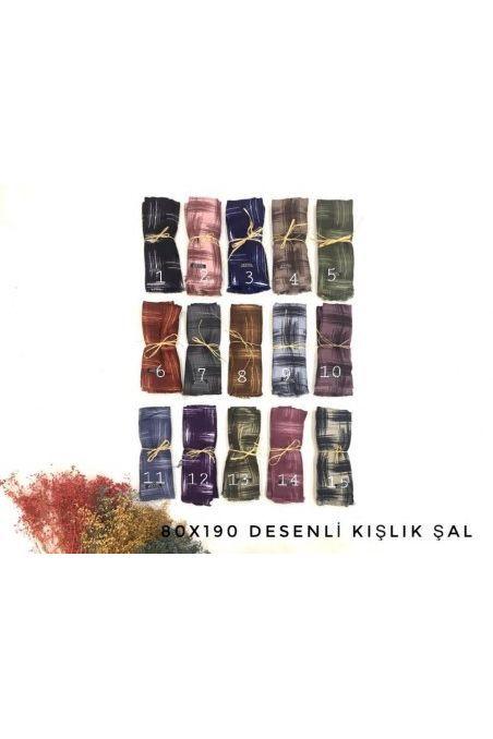 MDL-1852 ÇİZGİLİ/DESENLİ  ŞAL  (80*190 cm)